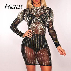 Wholesale FANIECES summer Women Black Bandage long Sleeve Bead Club mesh Dresses Vestido Luxury Diamond Celebrity Evening Party Dress