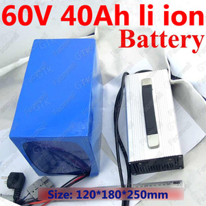GTK 60v lithium ion battery 60v 40ah li-ion with BMS for 3500w 3000w e-bike scooter bicycle boat lawn mower EV + 5A charger