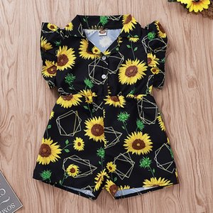 Wholesale Baby Girl Rompers Sunflower Printed Toddler Jumpsuits Fly Sleeve Outfits Ruffled Infant Climbing Clothes Summer Flower Girls Clothing YW3815