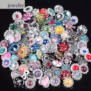 Wholesale Hot Noosa Jewelry Snaps Button Rhinestone Crystal Glasses Imitation Pearls Metal Hollow DIY Button Pendant Accessory Style mm
