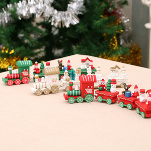 Wholesale Newest Christmas Wooden Train Gift Xmas Creative Gift Kids Favorite Wooden Train Toys Doll Christmas Ornament Home Decorations