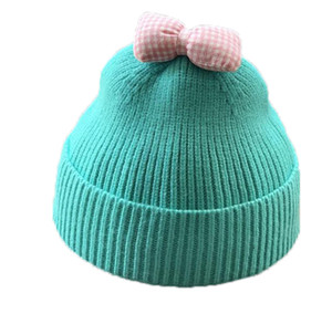 2020 baby autumn and winter wool hat Korean cute bow 1-3 years old 2 children hat knitted