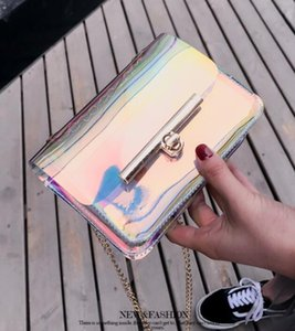fashion women Colorful Transparent Jelly pvc Laser handbag Shoulder chain Messenger Bag reflect cover opening Beach party mini handbags on Sale