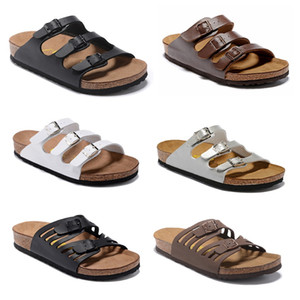 Wholesale wood clog shoes resale online - Florida New Summer Beach Cork Slippers Sandals Casual Double Buckle Clogs Sandalias Women men Slip on Flip Flops Flats Shoes