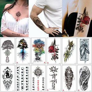 Wholesale henna style hand tattoos resale online - Fake Waterproof Temporary Tattoo Henna Flower Letter Rose Flower Machine Arm Tree for Women Men Body Makeup Sexy Tattoo Sticker School Style