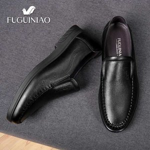 Wholesale 2019 New Men s Casual Cowhide shoes Breathable FUGUINIAO Genuine Leather perforated Men black Shoes fashion