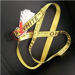 17ss INDUSTRIAL Paris yellow belt WHITE print men women Costumes Cosplay Belts Canvas embroidered mens belt 365