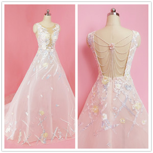 2019 New Arrivals Beaded Hollow back A-line Sleeveless Bridal Gowns Cheap Fashion Elegant Garden Wedding Dresses with Court Train