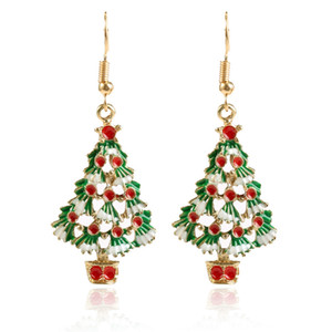Wholesale Christmas Dangle Hook Earrings Red Green Enamel Tree Holiday Party Drop Earrings Christmas Gift IdeaThanksgiving Themed Earrings for Women