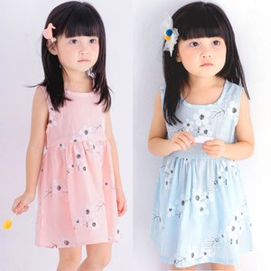 Retail Cheap Baby Girls Sleeveless Cotton Floral Dress 2019 Korean Summer Cute Vest Princess Prom Dresses Kids boutique designer clothes