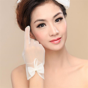Wholesale bow fingers resale online - 2020 Short Simple Wedding Bridal Gloves with Bow White Ivory High Quality Tulle Sheer Wrist Length Full Finger Wedding Party Gloves