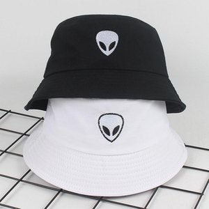 Wholesale Unisex black white solid Embroidered Alien Fordable Bucket Hat Beach Sun Party Street Headwear Panama Hat Harajuku Fisherman Cap