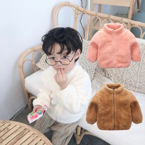 Wholesale Boy Girls Winter Sherpa Coat Children Baby Zipper Jacket Kids Plush Fleece Hoodies Fur Warm Coats Children's Outerwear Tops 5 Colors C92704