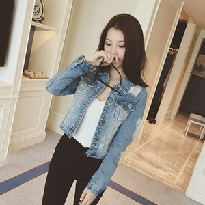 Wholesale Fashion New Women Basic Coats Autumn and Winter Women Denim Jacket Vintage Long Sleeve Slim Female Jeans Coats Casual Girls Outwear