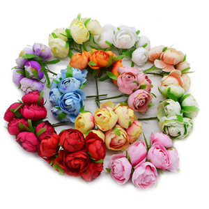 Wholesale 6pcs Silk Big cm Rose Bud Artificial Flower Bridal Bouquet Wedding Party Valentine s Day Home Decoration Fake Wreath Crafts