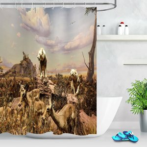 Wholesale Prairie Wild Lion DeerDurable Fabric Mold Proof Bathroom Pendant Creative with Hooks X180CM