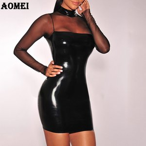 Wholesale Tube Dress Sexy PVC Wet Look Leather Dresses Mesh Sleeve Sexy Transparent Women Black Club Wear Package Hip Bandage Clothes