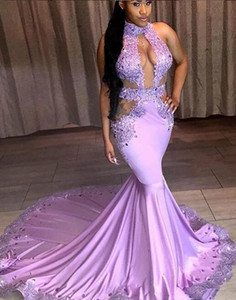 Wholesale Purple Mermaid Sexy Prom Dresses 2019 Backless Halter modest Lace Plus Size Black Girls African Arabic crystals Formal Evening Party Gowns