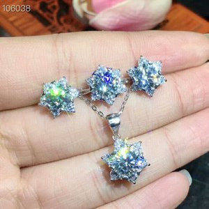 Wholesale MeiBaPJ Real Moissanite Gemstone Jewelry Set Solid Silver Classic Flower Necklace Earrings Ring Wedding Jewelry for Women