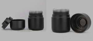 Wholesale oz containers for sale - Group buy 2 oz ml black glass jar wide bore mouth glass container stash wax dry herb cosmetic jars with childproof resistance cap new