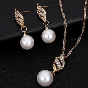 Wholesale Fashion Jewelry White Gold Color Pearl Czech Drill Earrings and Pendant Neckalce Jewelry Sets Women Engagement Best Gift