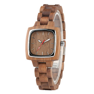 Wholesale Brown Wood Watch Women Square Shape Dial Ladies Watches Casual Wooden Band Timepieces Luxury Bracelet Clasp Female Gifts