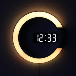 relojes de pared modernos para la sala al por mayor-3D LED Digital Table Reloj de alarma Espejo de la Pared Hollow Reloj Reloj Moderno Diseño Nightlight para la sala de estar de la sala de estar Decoraciones