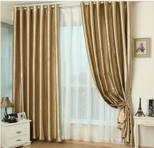 Wholesale Hook Eyelet gold curtains window living room cortinas luxury drapes panels modern kitchen high shading window treatment curtains