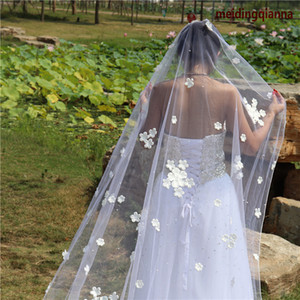 Wholesale Hot Best Selling Real Pictures One White Ivory Wedding Veil Chapel Length Pencil Edge Bridal Veil Alloy Comb Meidingqianna Brand