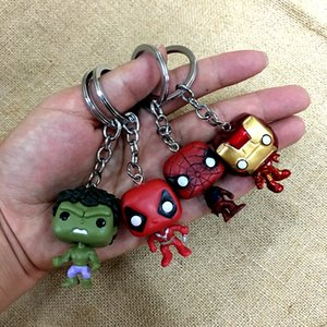 Wholesale Cute Super Hero Anime Key Cover Cap Hulk Keychain Ring Women Porte Clef Iron Man Keychain New Exotic Marvel Keychai