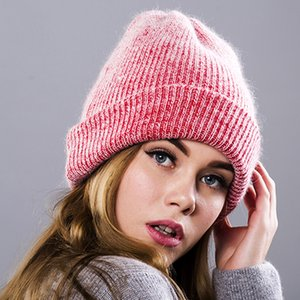 Wholesale Maxi DHL Shipping Solid color Angora rabbit fur knit hat fashion warm rabbit wool headgear joker plush cony hair cap
