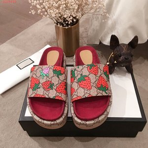 Fashionable slippers for women, Red strawberry colored sandals High water proof platform non-slip canvas slippers with thick sole on Sale