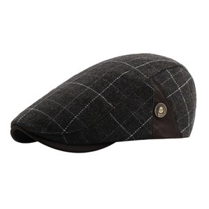 Wholesale MUQGEW NEW Arrival Winter Men Plaid Vintage Ajustable Gatsby Peaked Cap Newsboy Beret Hat men s winter hats bonnet femme