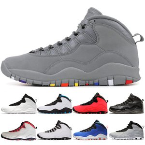 designer Mens basketball shoes 10 Tinker Cement 10s mens shoes Cool Grey I'm Back chicage Powder blue trainers sports sneaker size 7-13
