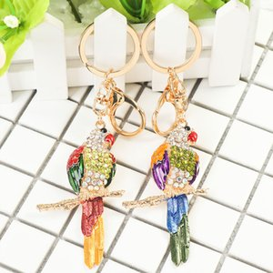 Wholesale 1pcs New Fashion Parrot Bird Charm Rhinestone Car Purse Handbag Pendant Key Chain Key Ring Women Delicate Gifts