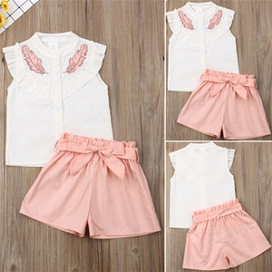Wholesale childs clothes resale online - Cute Girls Leaf Print Pieces Clothing Sets Childs Outfits Sleeveless Lotus Leaf Collar T shirt Tops shorts Sets with Bow Belt Clothes