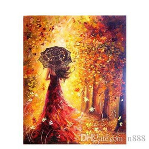 Wholesale landscapes autumn paintings for sale - Group buy Hand painted HD Print Beautiful Women Autumn Landscape Art oil painting On Canvas Wall Art Home Deco Multi Sizes p419
