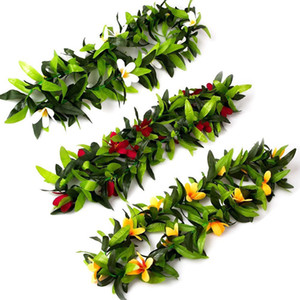 Wholesale 3PCS Hawaiian Luau Party Leis Tropical Artificial Leaf Flower Wreaths Garland for Tropical Beach Theme Party Supplies