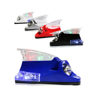 Wholesale Wind Power LED Lights Auto Shark Fin Antenna Car Decorative Light with Rotation Fan No Need External Power Supply