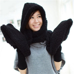 Wholesale Fashion Women Winter Warm Soft Plush Faux Fur Hooded Cap Hat Scarves Hood Pocket Gloves Scarf women accessories