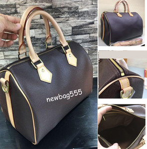 Wholesale Classic desinger women iconic speedy pillow handbag city bag lady oxidizing Leather zipper Lock strap large shopping tote dust bag
