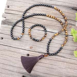 Wholesale 8mm Natural Stone Beads Black Onyx Tigers Eye JapaMala Sets Spiritual Jewelry Meditation Necklace Inspirational Mala Beads