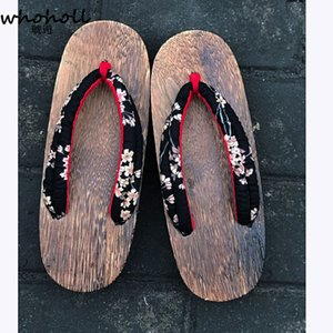 Whoholl Original Geta Japanese Wooden Clogs Rem Cosplay Costumes Women Flip-flops Indoor Kimono Slippers Female Sandals Clogs