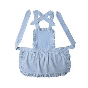 Wholesale aprons ruffles resale online - 100 Pure Cotton White Kids Apron Short Style Japanese Style White Ruffled Baby Avental De Cozinha Divertido Pinafore Apron