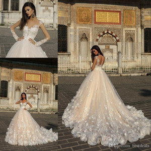 2019 Gorgeous Designer Champagne Wedding Dresses with White 3D Flowers Illusion Sheer Long Sleeves Court Train Arabic Bridal Gowns on Sale