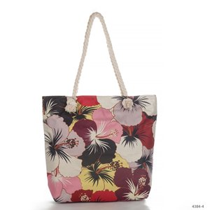 Wholesale New Product Flower Linen Printing Package Rope Fashion Wind Single Shoulder Handbag Shopping Bag