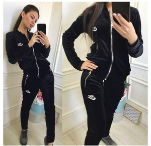 Wholesale 2018 arrive Women s Sweatshirt Letter Sports Suit Pullover Women Hoodie Set Tracksuit Casual Jogging Sweatshirt Pant Two Pieces