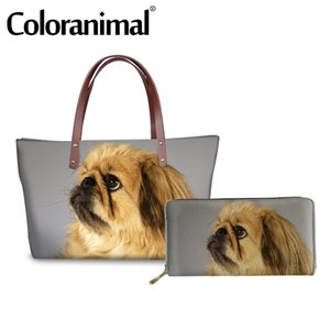 Coloranimal Top-handle bag Women Handbag Luxury Design Lady Shopper Bag Large Fashion Tote Pekingese Dog Print 2pcs Set Bags