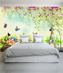 Wholesale wallpaper spring resale online - pastoral style can be custom wallpaper fresh fashion wall paper beautiful spring landscape decor living room bedroom dinner study household