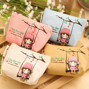 Girls Canvas Coin Purse, Mini Cute Zipper Pouch Bag Wallet for Gadgets Organizer(Short Style Color,White)